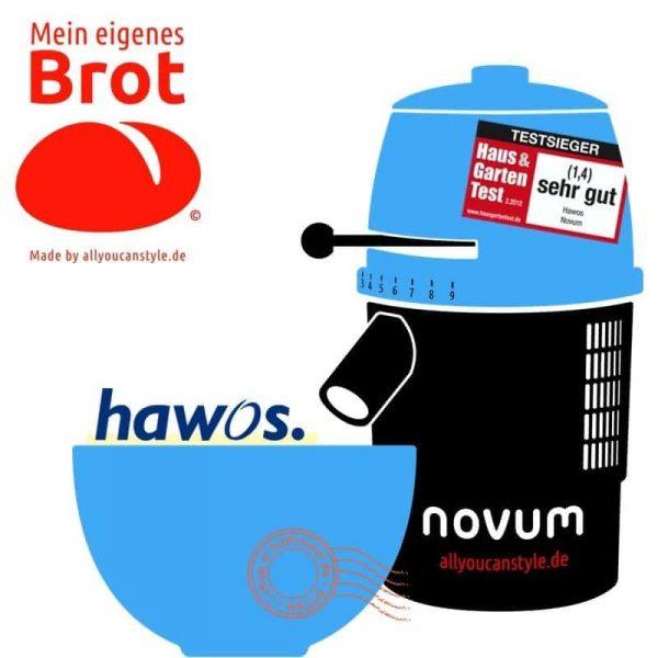 """brotseminar.de: """"NOVUM — die Getreidemühle"""" (hier in blau-weiß) ist in sechs (6) Farbvarianten erhältlich. Wir benutzen diesen Mahl-Esel für frisches Vollkorn-Mehl in den Brot-Rezepturen."""