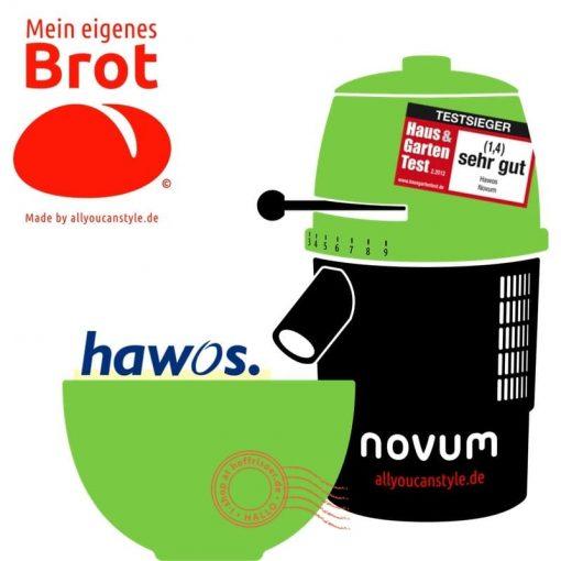 """brotseminar.de: """"NOVUM — die Getreidemühle"""" (hier in grün-weiß) ist in sechs (6) Farbvarianten erhältlich. Wir benutzen diesen Mahl-Esel für frisches Vollkorn-Mehl in den Brot-Rezepturen."""