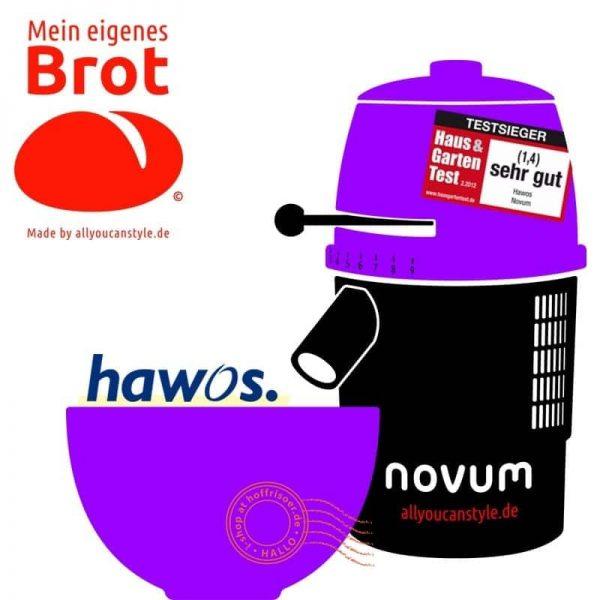 """brotseminar.de: """"NOVUM — die Getreidemühle"""" (hier in lila-weiß) ist in sechs (6) Farbvarianten erhältlich. Wir benutzen diesen Mahl-Esel für frisches Vollkorn-Mehl in den Brot-Rezepturen."""