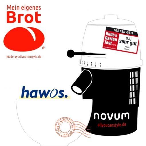 """brotseminar.de: """"NOVUM — die Getreidemühle"""" (hier in weiß-weiß) ist in sechs (6) Farbvarianten erhältlich. Wir benutzen diesen Mahl-Esel für frisches Vollkorn-Mehl in den Brot-Rezepturen."""
