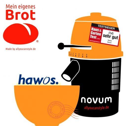 """brotseminar.de: """"NOVUM — die Getreidemühle"""" (hier in orange-weiß) ist in sechs (6) Farbvarianten erhältlich. Wir benutzen diesen Mahl-Esel für frisches Vollkorn-Mehl in den Brot-Rezepturen."""