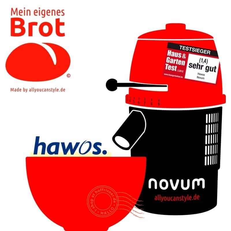 """brotseminar.de: """"NOVUM — die Getreidemühle"""" (hier in rot-weiß) ist in sechs (6) Farbvarianten erhältlich. Wir benutzen diesen Mahl-Esel für frisches Vollkorn-Mehl in den Brot-Rezepturen."""