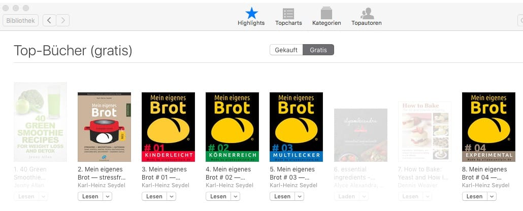 Bildschirmfoto von allen fünf (5) Buch-Titeln bei iBooks/iTunes am 25. März 2016