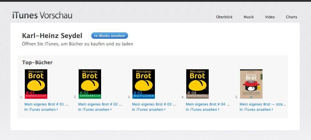 Bildschirmfoto von allen fünf (5) Buch-Titeln bei iBooks/iTunes am 21. März 2016