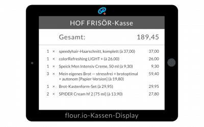 Neu: Kunden/Kassen-Display für meine flexible cloud-basierte flour.io-Kasse