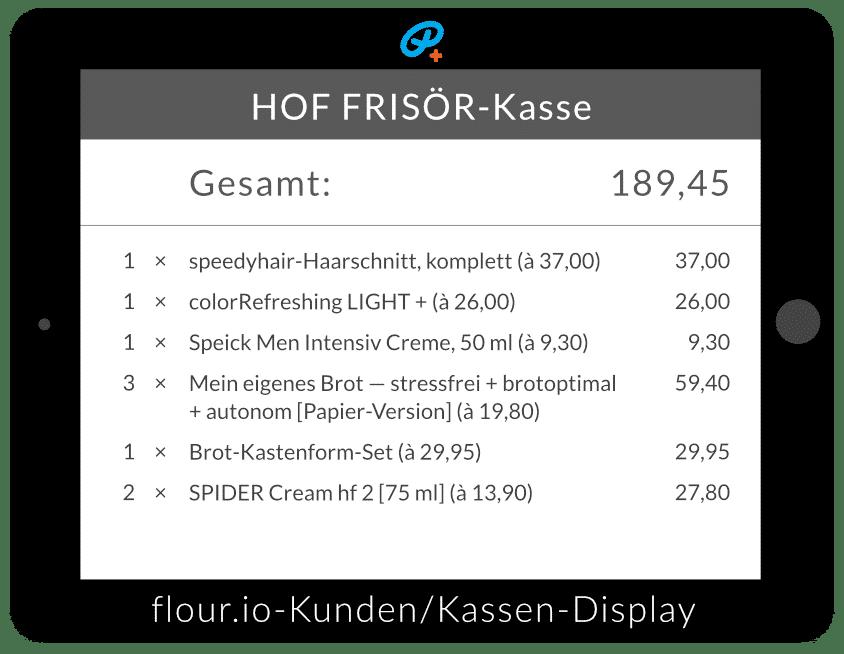 © by allyoucanstyle.de im November 2016: flour.io-Kunden/Kassen-Display mit original Kassen-Inhalt vom HOF FRISÖR aus Frankfurt