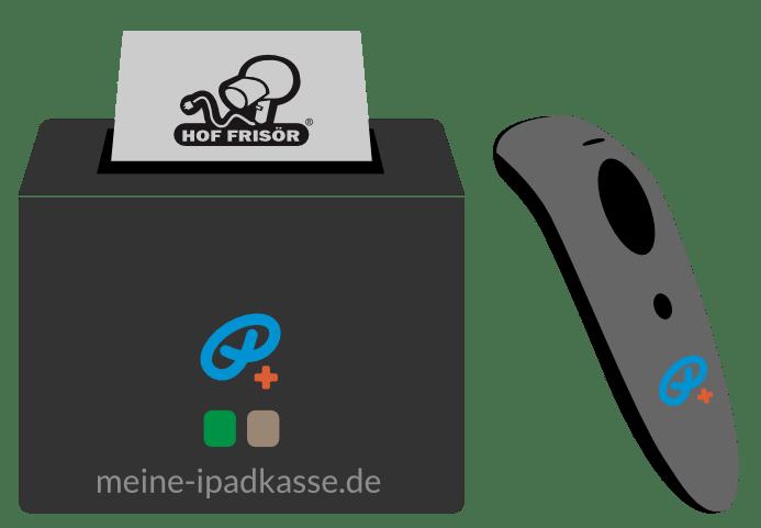 HOF FRISÖR-Kasse mit eigenem Logo auf jedem Kassenzettel