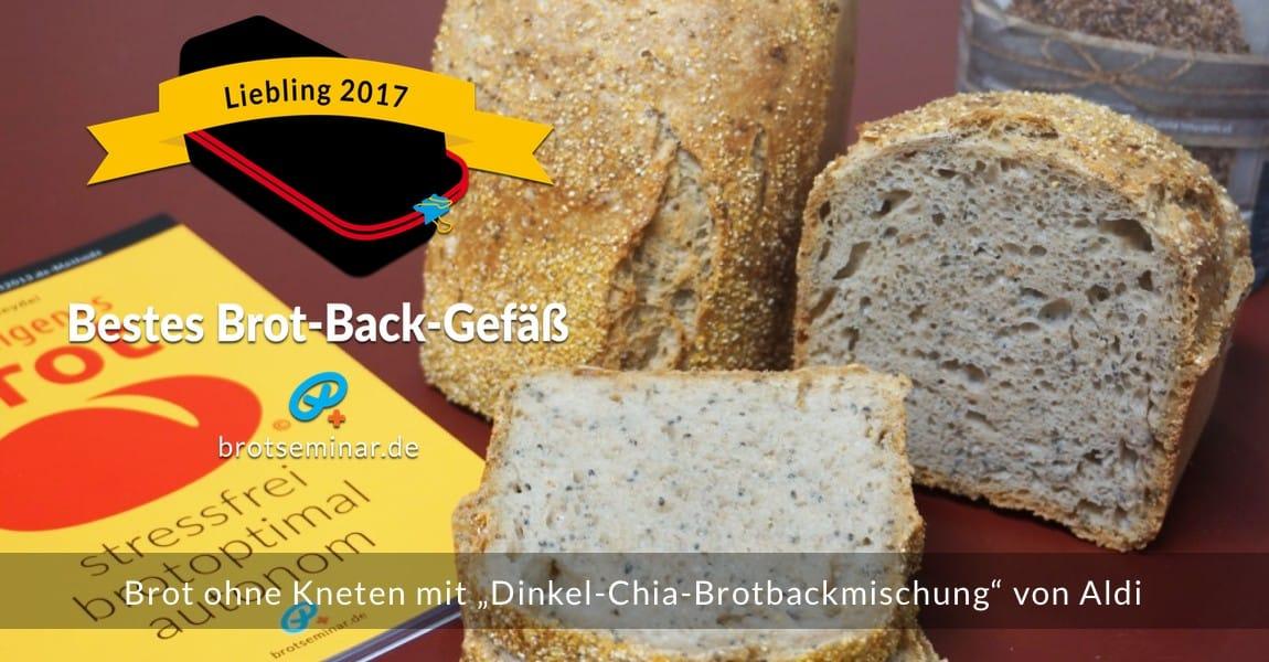 """Mit dem neuen Brot-Kastenform-Set 2017 von brotseminar.de hergestellt: Brot ohne Kneten mit """"Dinkel-Chia-Brotbackmischung"""" von Aldi."""