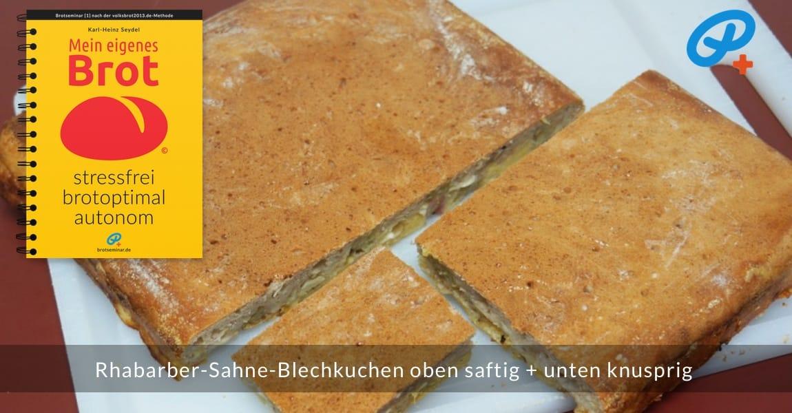 Dieser Rhabarber-Sahne-Blechkuchen ist oben saftig + unten knusprig.