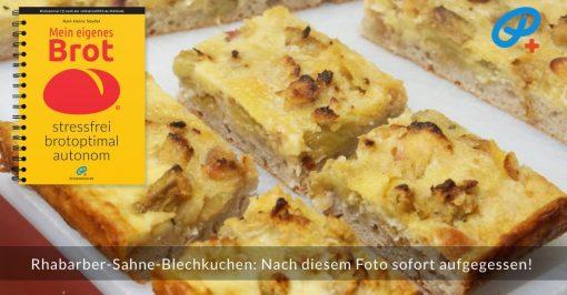 Diese Rhabarber-Sahne-Blechkuchen-Stückchen wurden sofort aufgegessen, nachdem dieses Foto im Apparat war!