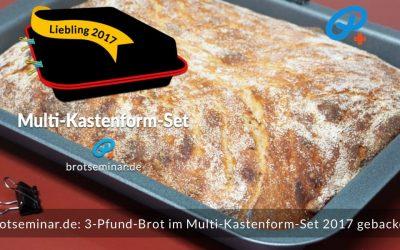 3-Pfund-Brot mit hellem Ohne-Kneten-Hefeteig im Multi-Kastenform-Set 2017 gebacken