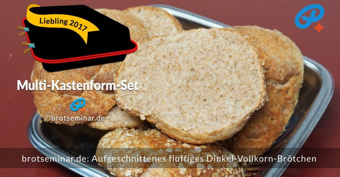 brotseminar.de: Aufgeschnittenes fluffiges Dinkel-Vollkorn-Brötchen. Schmeckt mit allen Belägen sehr beeindruckend. So sehr, dass alle Brötchen bereits aufgegessen sind, wenn du diesen Text hier liest.