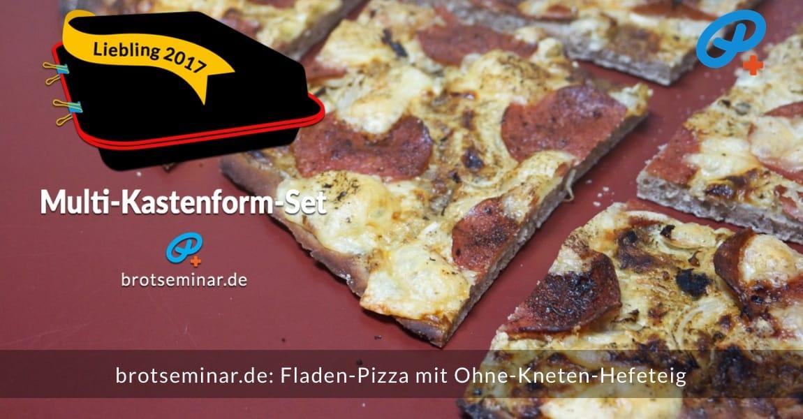 brotseminar.de: Glutenfreie Fladen-Pizza mit Ohne-Kneten-Hefeteig sehr schnell hergestellt + stressfrei im Multi-Kastenform-Set 2017 gebacken + leider schon aufgesessen.