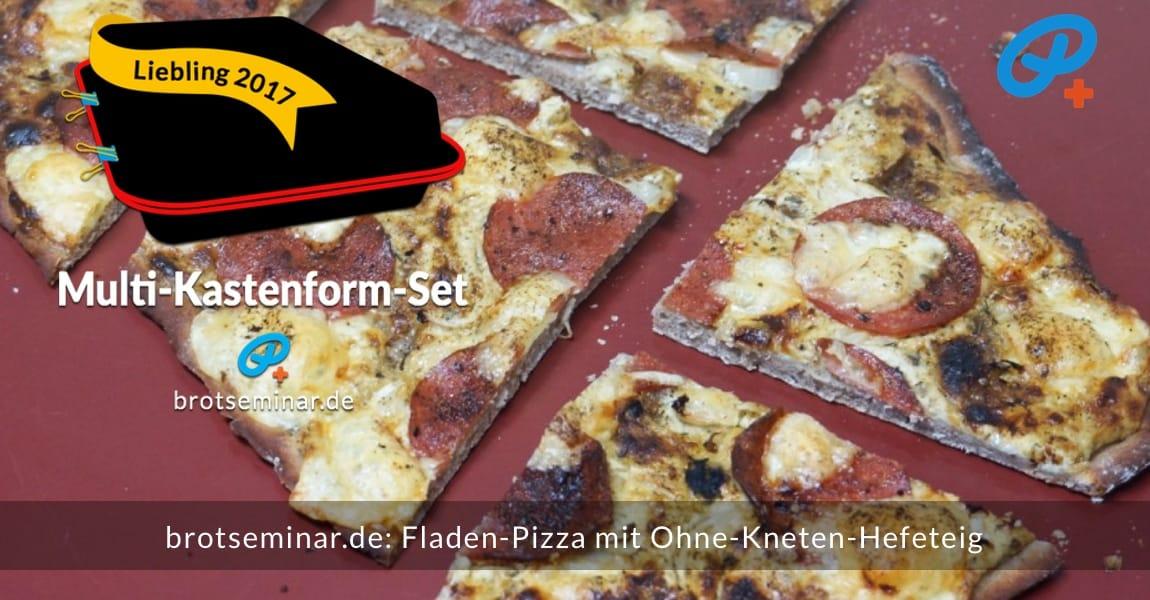 brotseminar.de: Glutenfreie Fladen-Pizza mit Ohne-Kneten-Hefeteig sehr schnell hergestellt + stressfrei im Multi-Kastenform-Set 2017 gebacken + kreativ mit einer Pizza-Schere aufgeschnitten.