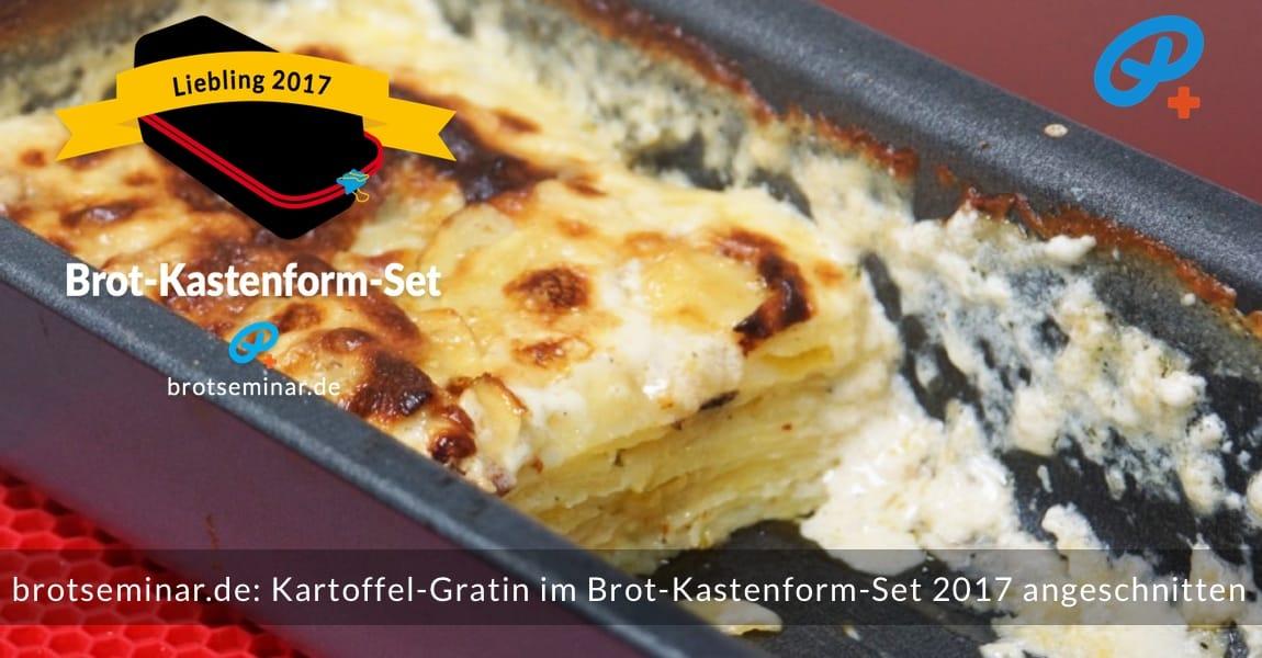 brotsemianr.de: Der Kartoffel-Gratin wurde im Brot-Kastenform-Set 2017 gebacken + angeschnitten. Letzteres wurde natürlich nicht mit einem Messer gemacht, sondern mit einem stabilen Pfannenwender aus Plastik.