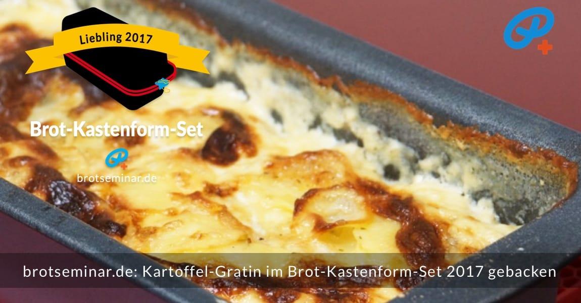 brotsemianr.de: Der Kartoffel-Gratin wurde im Brot-Kastenfortm-Set 2017 gebacken. Diese Portion ist perfekt für zwei (2) Personen. Möchtest du mehr davon, dann nimmt zwei (2) Kastenformen oder gleich das Multi-Kastenform-Set 2017.