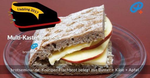 brotseminar.de: Knusper-Flachbrot belegt mit Butter + Käse + Apfel. — Die Pause kann kommen! — Lässt sich gut aufbewahren, mitnehmen, transportieren + essen, wenn die Scheiben am Rand nicht ganz durchgeschnitten wurden. Dieses natürliche Scharnier gibt deshalb auch mehr Kontrolle beim Reinbeißen …