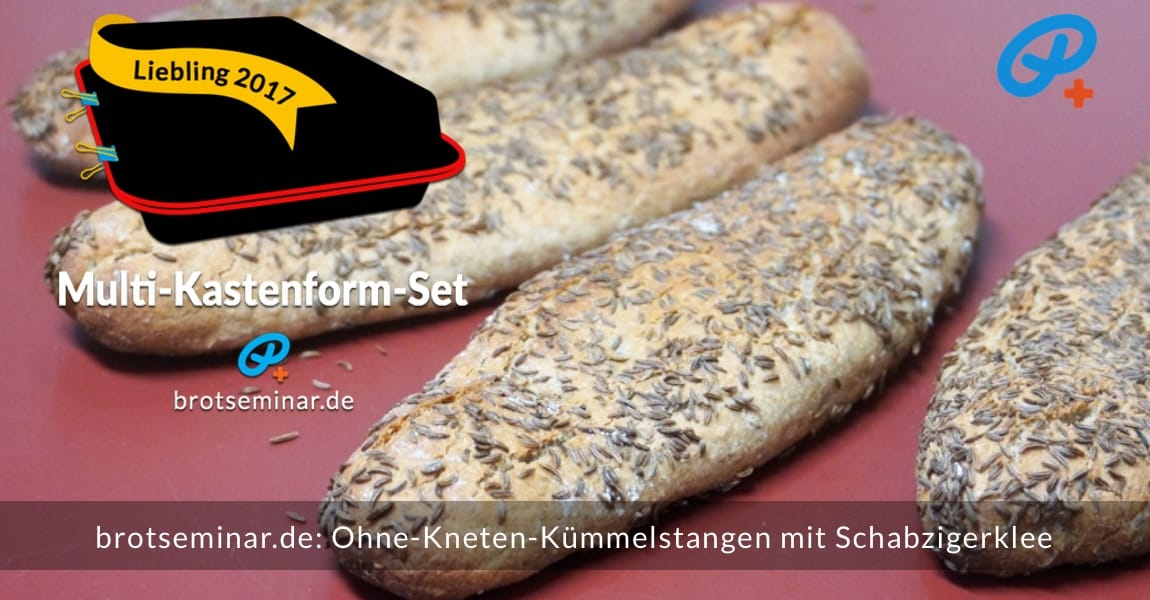brotseminar.de: Ohne-Kneten-Kümmelstangen im Multi-Kastenform-Set 2017 gebacken.