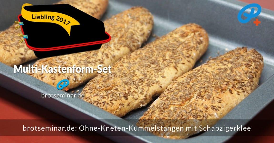 brotseminar.de: Ohne-Kneten-Kümmelstangen im Multi-Kastenform-Set 2017 gebacken + mit Schabzigerklee aromatisiert.