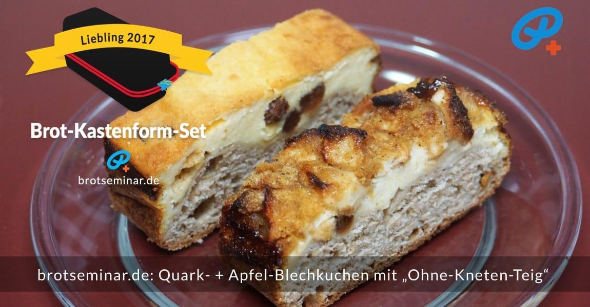 """brotseminar.de: Quark- + Apfel-Blechkuchen mit """"Ohne-Kneten-Hefeteig"""" nach der volksbrot2013.de-Methode mit echter Butter + Milch mit 3,6 % Fett + meisterlicher Pflege von khs"""