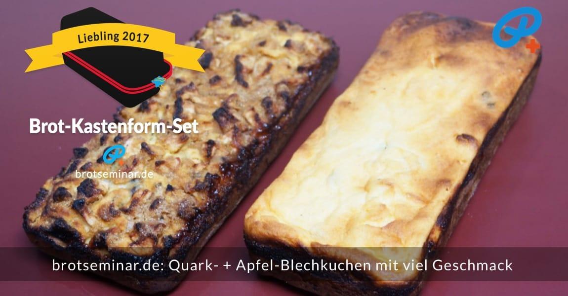 """brotseminar.de: Quark- + Apfel-Blechkuchen mit viel Geschmack; tolles Kuchenstückchen-Format, wenn Gäste kommen oder gleich als Geschenk/Mitbringsel; dann aber """"Bitte mit Sahne!"""" …"""