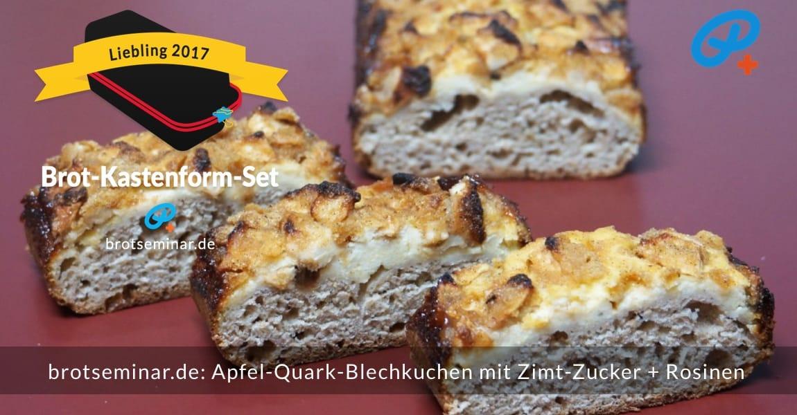 brotseminar.de: Apfel-Quark-Blechkuchen mit Zimt-Zucker + Rosinen; Kuchen-Teig wie Quark-Blechkuchen; Äpfel-Würfel mit Zitrone + Vanille parfümiert …
