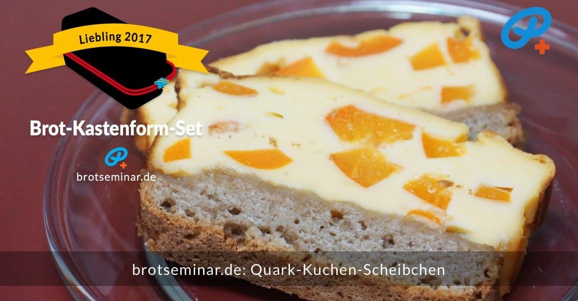 brotseminar.de: Quark-Kuchen mit frischen Aprikosen-Stückchen in Scheiben geschnitten. Der Boden ist sehr locker-fluffig, geschmackvoll + bekömmlich zugleich. Und glutenfrei auch. Achte auf die Zitronenmarmeladen-Schicht, die ich zwischen der Quark-Masse + dem Teig-Boden verteilt hatte.