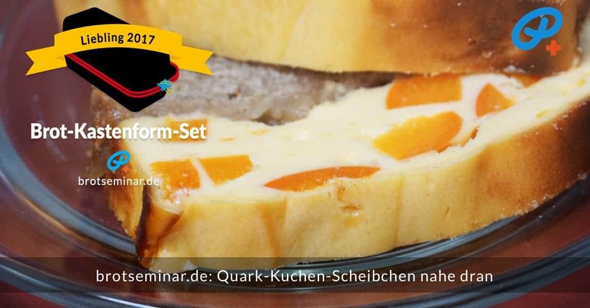 """brotseminar.de: Quark-Kuchen mit frischen Aprikosen-Stückchen in Scheiben geschnitten + ganz nahe dran. Das kannst du auch genauso stressfrei, glutenfrei und formvollendet hinbekommen, wenn unser vielseitiges """"Brot-Kastenform-Set 2017"""" verwendet wird."""