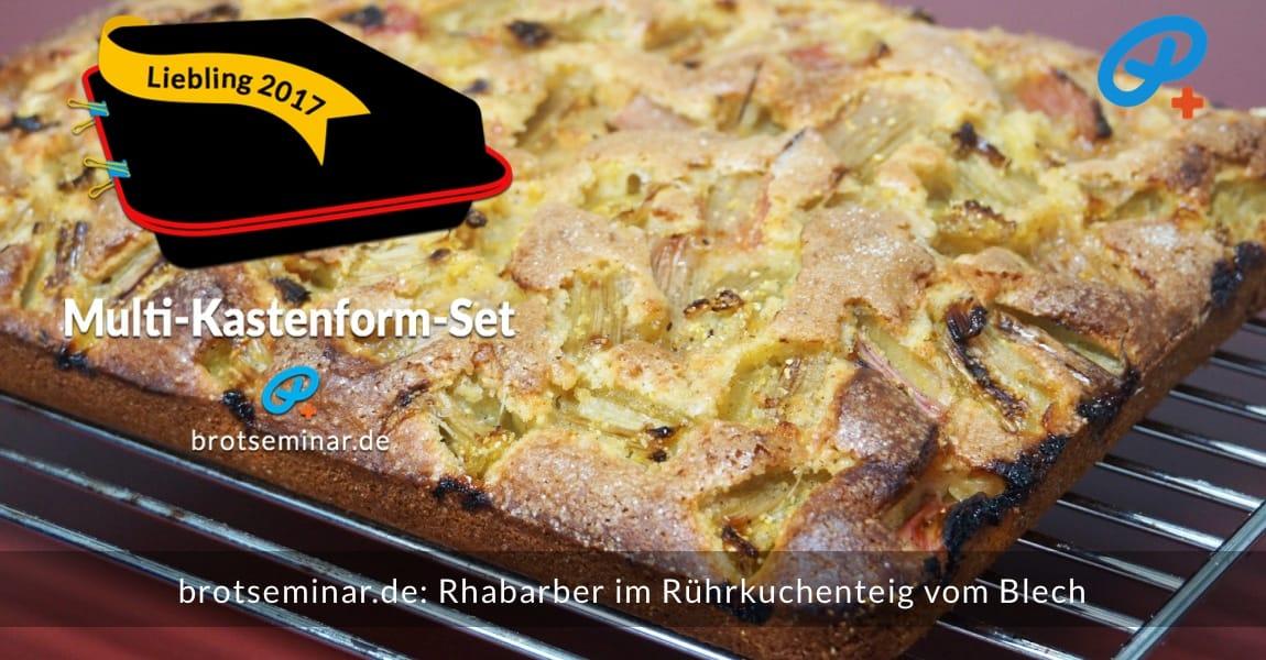 brotseminar.de: Rhabarber im Rührkuchenteig vom Blech (Multi-Kastenform-Set 2017) während des Abkühlens, auf einem Gitter, damit auch der Boden abdampfen kann.