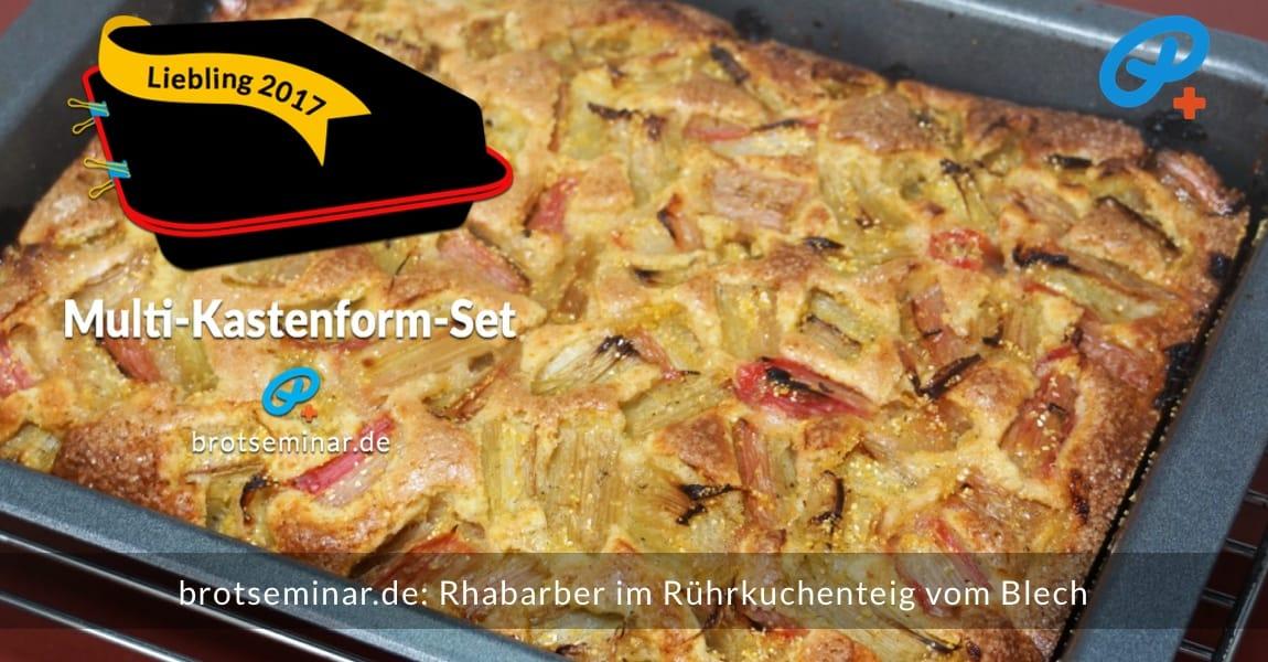brotseminar.de: Rhabarber im Rührkuchenteig vom Blech (Multi-Kastenform-Set 2017) während des Abkühlens, soeben aus dem Ofen geholt.