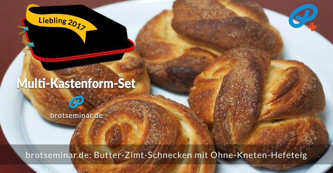 brotseminar.de: Butter-Zimt-Schnecken mit unserem universellen Ohne-Kneten-Hefeteig hergestellt. Nur wenige Zutaten, ganz wenig Aufwand + dann aber ein gewaltiges Geschmackserlebnis mit echter Butter, Zimt, Rohrzucker.