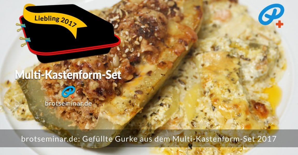 brotseminar.de: Gefüllte Gurke mit Hackfleisch auf Kartoffel-Gratin im Multi-Kastenform-Set 2017 gebacken. Schmeckt auch kalt.