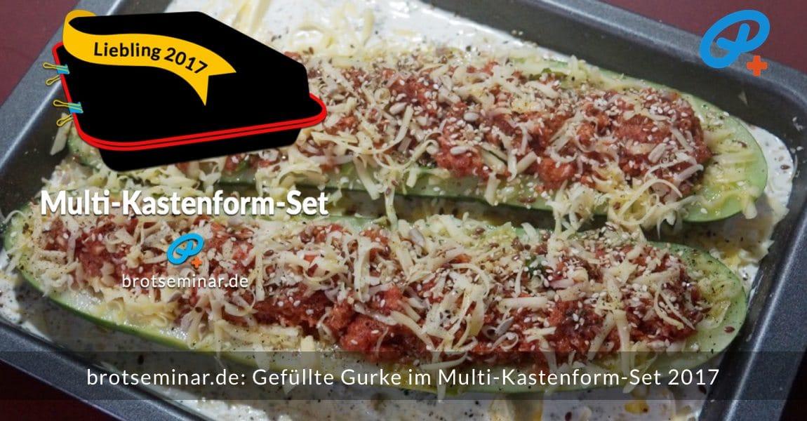 brotseminar.de: Gefüllte Gurke mit Hackfleisch auf Kartoffel-Gratin im Multi-Kastenform-Set 2017 gebacken. Auch eine gute Gelegenheit, mal alle Reste aus dem Kühlschrank in diesem Gericht zu verbrauchen.