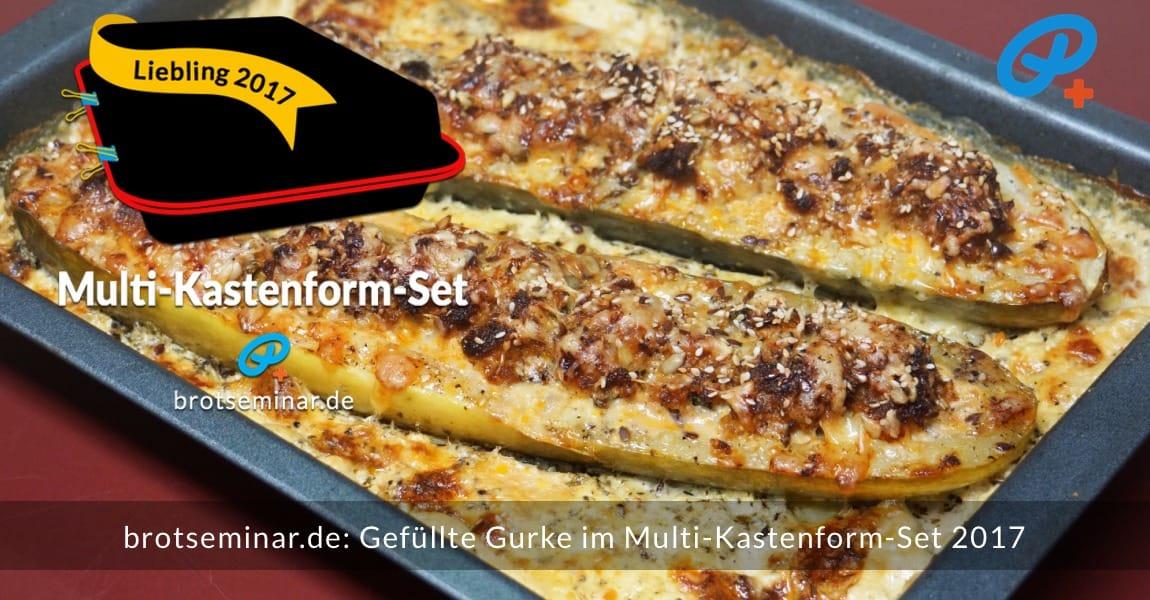 brotseminar.de: Gefüllte Gurke mit Hackfleisch auf Kartoffel-Gratin im Multi-Kastenform-Set 2017 gebacken.