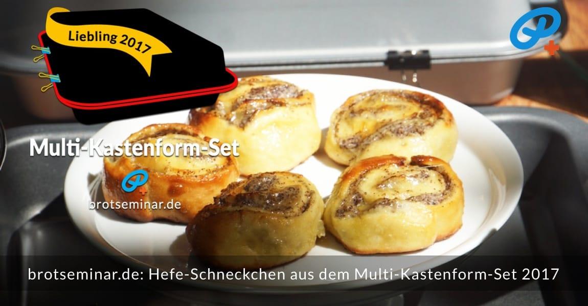 brotseminar.de: Hefe-Schneckchen aus dem Multi-Kastenform-Set 2017 mit Ohne-Kneten-Hefeteig und einer saftigen Pudding-Quark-Mohn-Füllung.