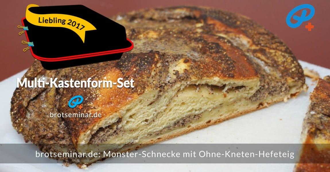 brotseminar.de: Monster-Schnecke mit Ohne-Kneten-Hefeteig im Multi-Kastenform-Set 2017 gebacken. Innen gibt es eine saftige Füllung aus Quark + Mohn + Pflaumenmus. Und außen noch mehr Geschmack + Knusprigkeit.