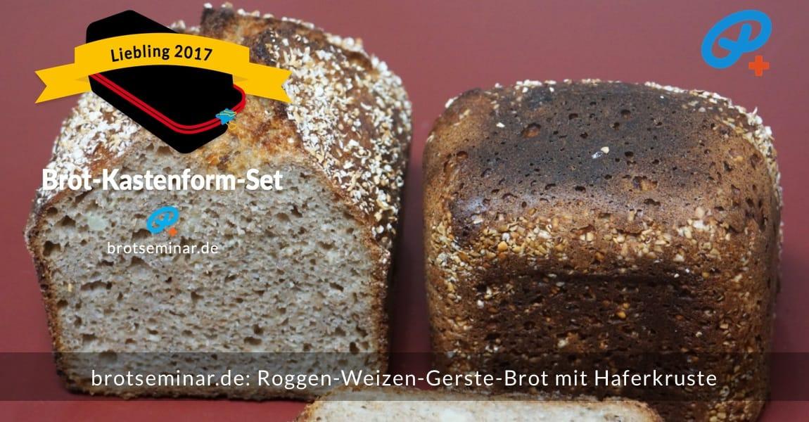 brotseminar.de: Roggen-Weizen-Gerste-Sauerteigbrot mit Haferkruste. Aroma kommt fast von alleine, wenn mit der Langzeit-Gär-Methode + Sauerteig dem Getreide die Chance zum Entfalten gegeben wird. Das Ergebnis ist voller Geschmack + Bekömmlichkeit + optischer Reize, also sehr begehrlich.