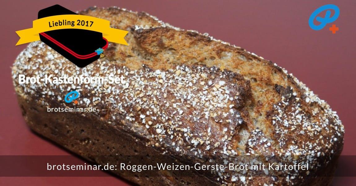 brotseminar.de: Roggen-Weizen-Gerste-Sauerteigbrot mit Kartoffel, wurde brotoptimal im Brot-Kastenform-Set 2017 saftig-knusprig gebacken.