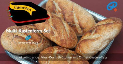 brotseminar.de: Diese Vier-Korn-Brötchen wurden mit brotseminar.de-Ohne-Kneten-Hefeteig hergestellt.