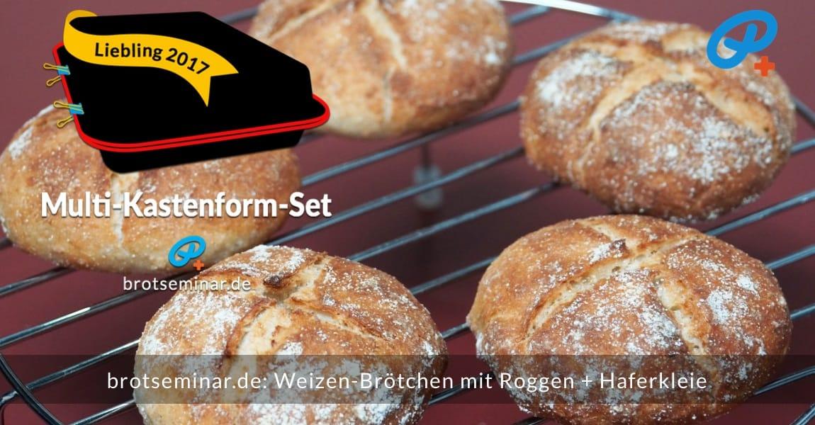 brotseminar.de: Weizen-Brötchen mit Roggen + Haferkleie mit Ohne-Kneten-Hefeteig im Multi-Kastenform-Set 2017 brötchenoptimal gebacken. Das Bild zeigt die begehrenswerten runden Brötchen beim Abkühlen.
