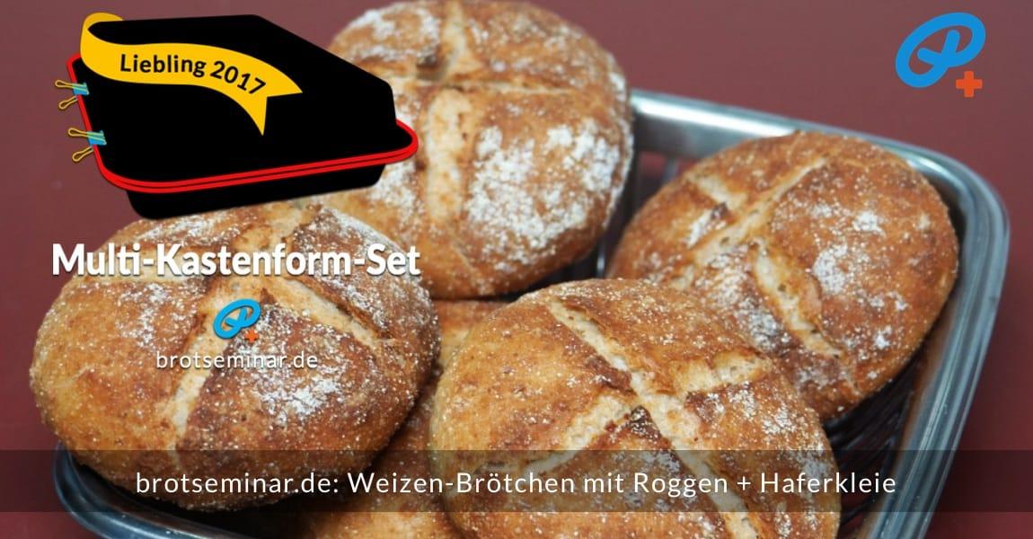 brotseminar.de: Weizen-Brötchen mit Roggen + Haferkleie mit Ohne-Kneten-Hefeteig im Multi-Kastenform-Set 2017 brötchenoptimal gebacken. Die sehr gelungen runden Brötchen werden hier appetitanregend präsentiert.