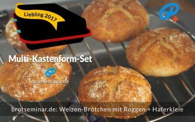 Ohne-Kneten-Weizen-Brötchen mit Roggen + Haferkleie