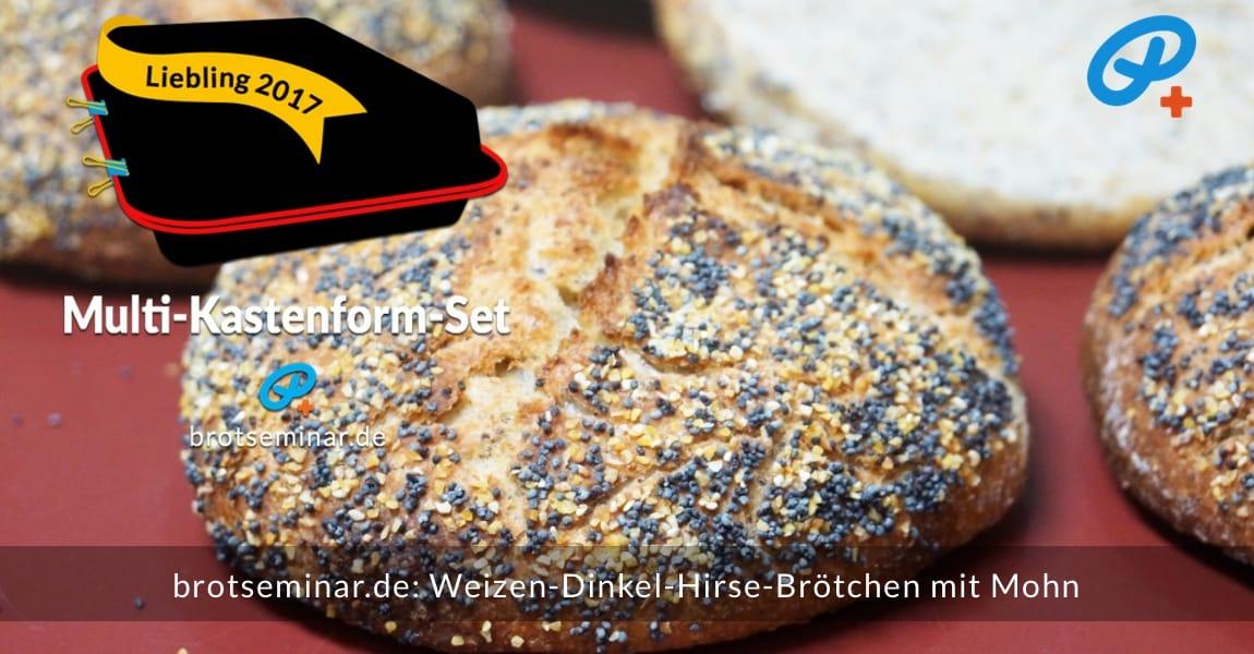 """brotseminar.de: Diese """"Weizen-Dinkel-Hirse-Brötchen mit Mohn"""" wurden ganz einfach + nebenbei mit Ohne-Kneten-Hefeteig hergestellt + im Multi-Kastenform-Set 2017 gebacken. — So sexy kann ein Brötchen auch aussehen. — Gibt es garantiert nicht beim """"Auf-Bäcker"""" in deiner Nähe."""