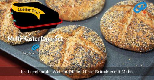 """brotseminar.de: Diese """"Weizen-Dinkel-Hirse-Brötchen mit Mohn"""" wurden ganz einfach + nebenbei mit Ohne-Kneten-Hefeteig hergestellt + im Multi-Kastenform-Set 2017 gebacken. Das geht einfach!"""