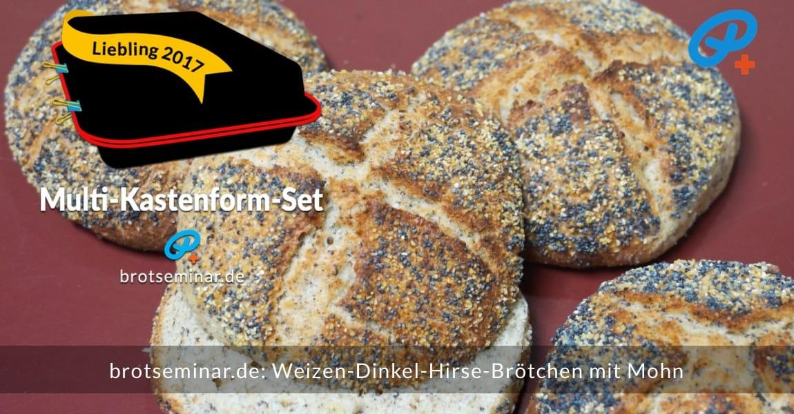 """brotseminar.de: Diese """"Weizen-Dinkel-Hirse-Brötchen mit Mohn"""" wurden ganz einfach + nebenbei mit Ohne-Kneten-Hefeteig hergestellt + im Multi-Kastenform-Set 2017 gebacken."""