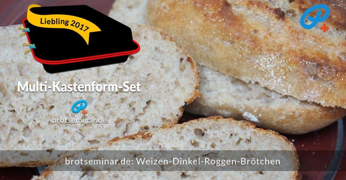 brotseminar.de: Diese aromatischen Weizen-Dinkel-Roggen-Brötchen wurden ohne Stress im Multi-Kastenform-Set 2017 gebacken. Fluffig + saftig + knusprig zugleich. Zum Reinbeißen gemacht.