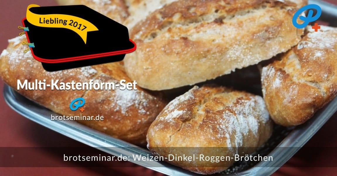 brotseminar.de: Diese aromatischen Weizen-Dinkel-Roggen-Brötchen wurden ohne Stress im Multi-Kastenform-Set 2017 gebacken. — Gibt es nicht zu kaufen! — Kannst du aber jederzeit + überall selbst herstellen, wenn man weiß, wie die volksbrot2013.de-Methode funktioniert.