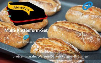 Weizen-Dinkel-Roggen-Brötchen mit Ohne-Kneten-Teig