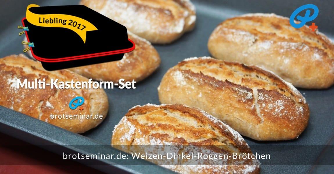brotseminar.de: Diese aromatischen Weizen-Dinkel-Roggen-Brötchen wurden ohne Stress im Multi-Kastenform-Set 2017 gebacken. — Gefallen sie dir?