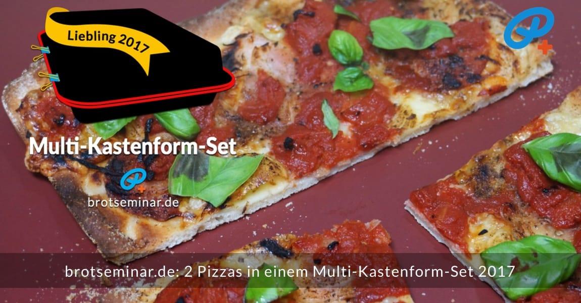 brotseminar.de: 2 (zwei) Pizzas wurden gleichzeitig im Multi-Kastenform-Set 2017 pizzaoptimal gebacken. Der Pizza-Teig von der Ostermühle Langenau wurde mit unserer Ohne-Kneten-Methode hergestellt. Das geht sehr einfach + schmeckt dann auch noch besser + bekömmlicher ist das Ergebnis sowieso. Rote Pizza mit: Emmentaler Käse, Salami, Zwiebel, Tomatenwürfel in Tomatensoße aus der Dose.